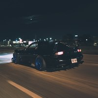 Black 1993 Mazda RX-7 on Blue Volk Racing TE37