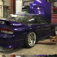 Purple 1991 Nissan 180SX on Silver/Chrome Work Varianza T1S