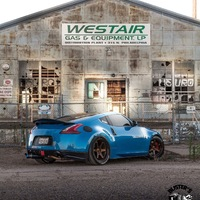 Blue 2009 Nissan 370Z on Bronze Varrstoen ES2