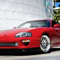 Red 1994 Toyota Supra on Silver/Chrome CCW Classic