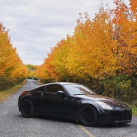 Black 2004 Nissan 350Z on Black Enkei RPF1