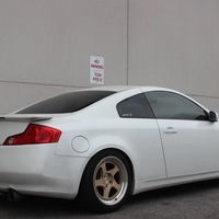 White 2003 Infiniti G35 coupe on Gold Aodhan AH-06