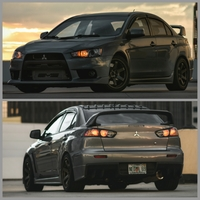 Gray 2013 Mitsubishi Lancer Evolution on Bronze Rota Grid Drift