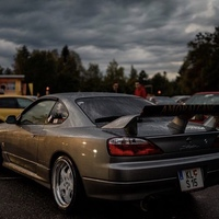 Silver/Chrome 1999 Nissan Silvia on White Work Equip
