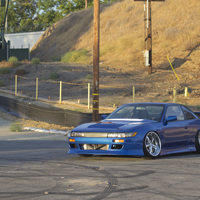 Blue 1993 Nissan Silvia on Silver/Chrome Work VS-KF