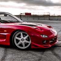 Red 1992 Mazda RX-7 on Silver/Chrome Racing Hart CR