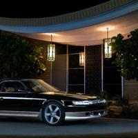 Black 1991 Eunos Cosmo on Silver/Chrome F1R F21