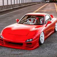 Red 1992 Mazda RX-7 on White Forgestar F14
