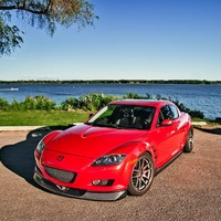 Red 2007 Mazda RX-8 on Gray Work Emotion CR-KAI
